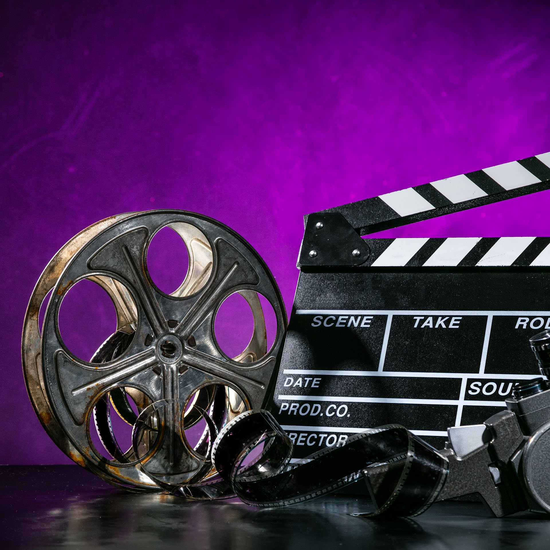 celebrities, film reel with clapper board and video camera