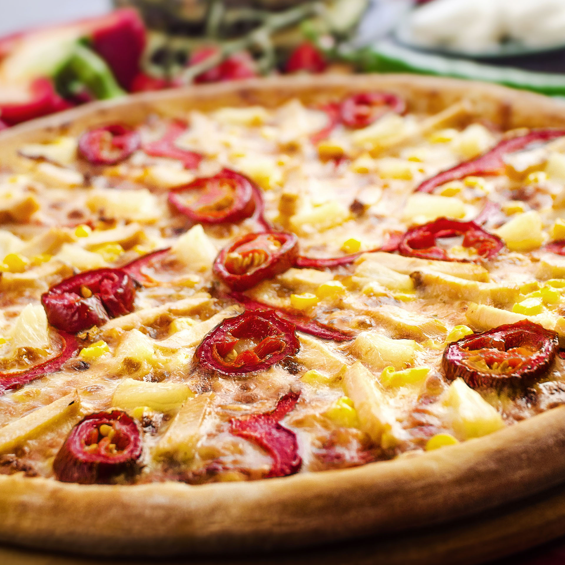 food, pizza with cheese and peppers