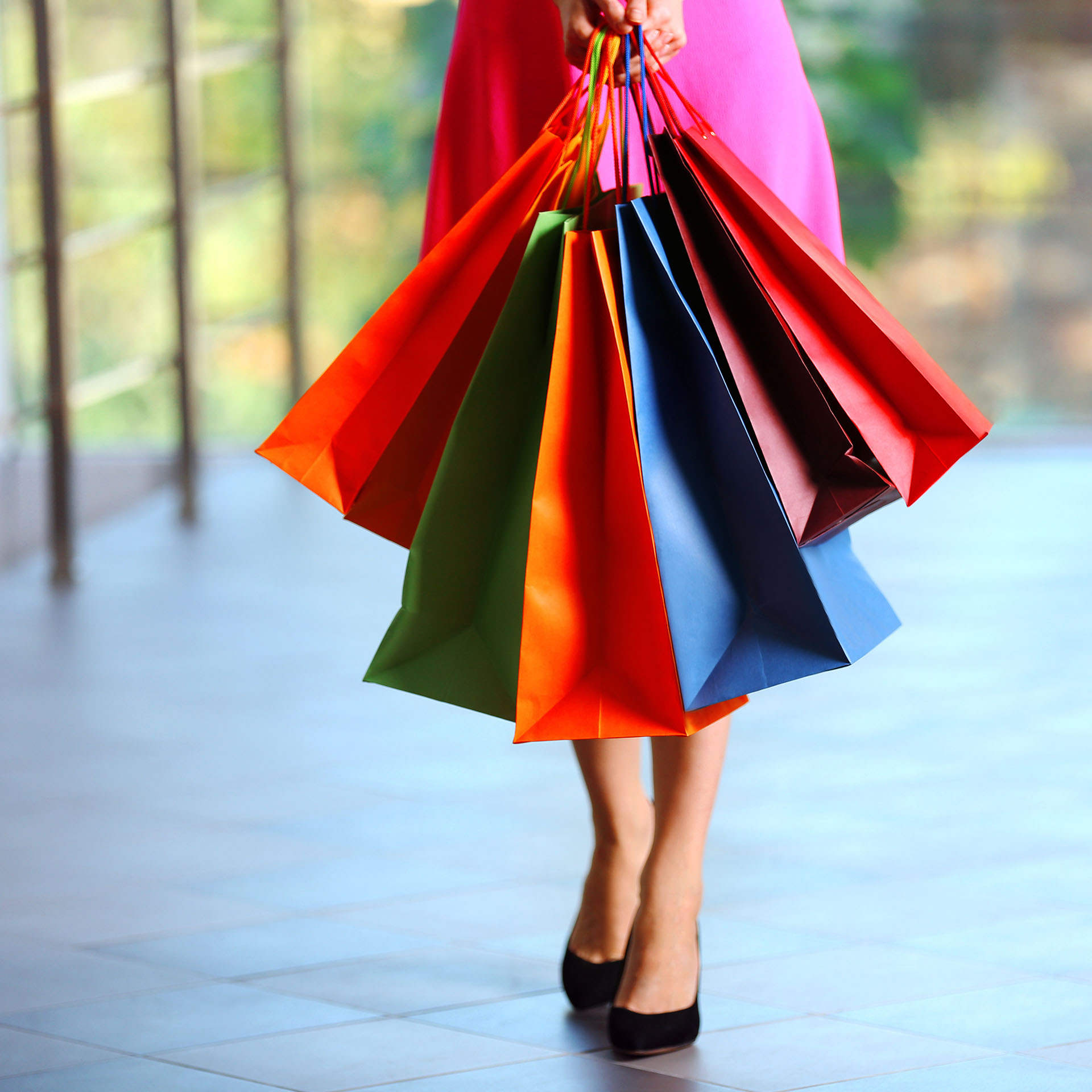 shopping, lady with colorful shopping bags